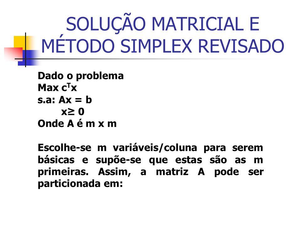SOLUÇÃO MATRICIAL E MÉTODO SIMPLEX REVISADO Dado o problema Max c T x s.a: Ax = b x 0 Onde A é m x m Escolhe-se m variáveis/coluna para serem básicas e supõe-se que estas são as m primeiras.