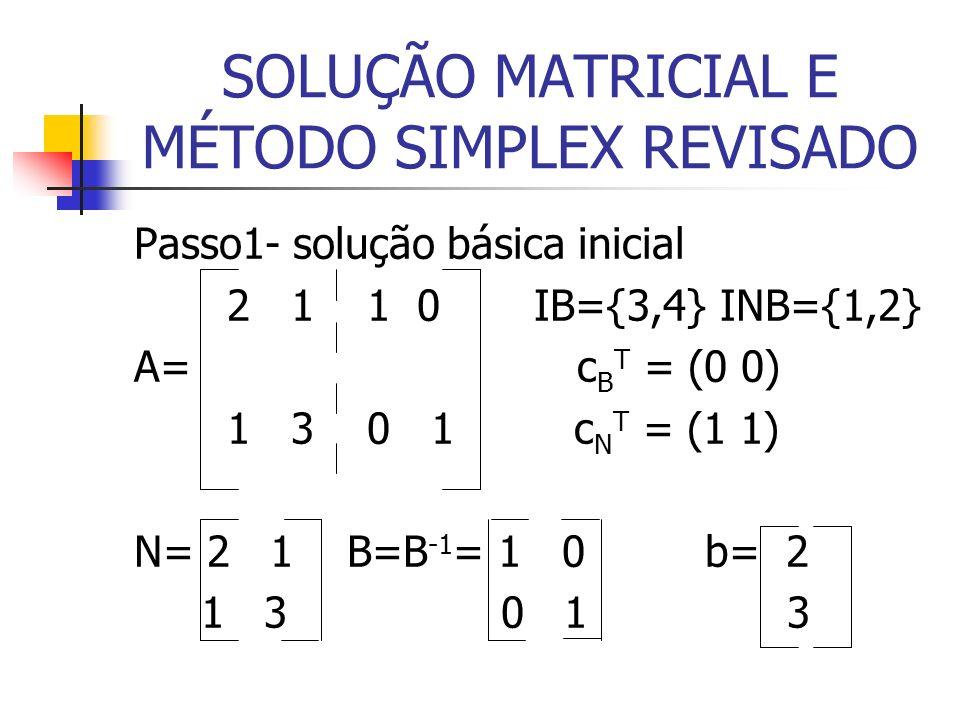 SOLUÇÃO MATRICIAL E MÉTODO SIMPLEX REVISADO Passo1- solução básica inicial 2 1 1 0 IB={3,4} INB={1,2} A= c B T = (0 0) 1 3 0 1 c N T = (1 1) N= 2 1 B=B -1 = 1 0 b= 2 1 3 0 1 3