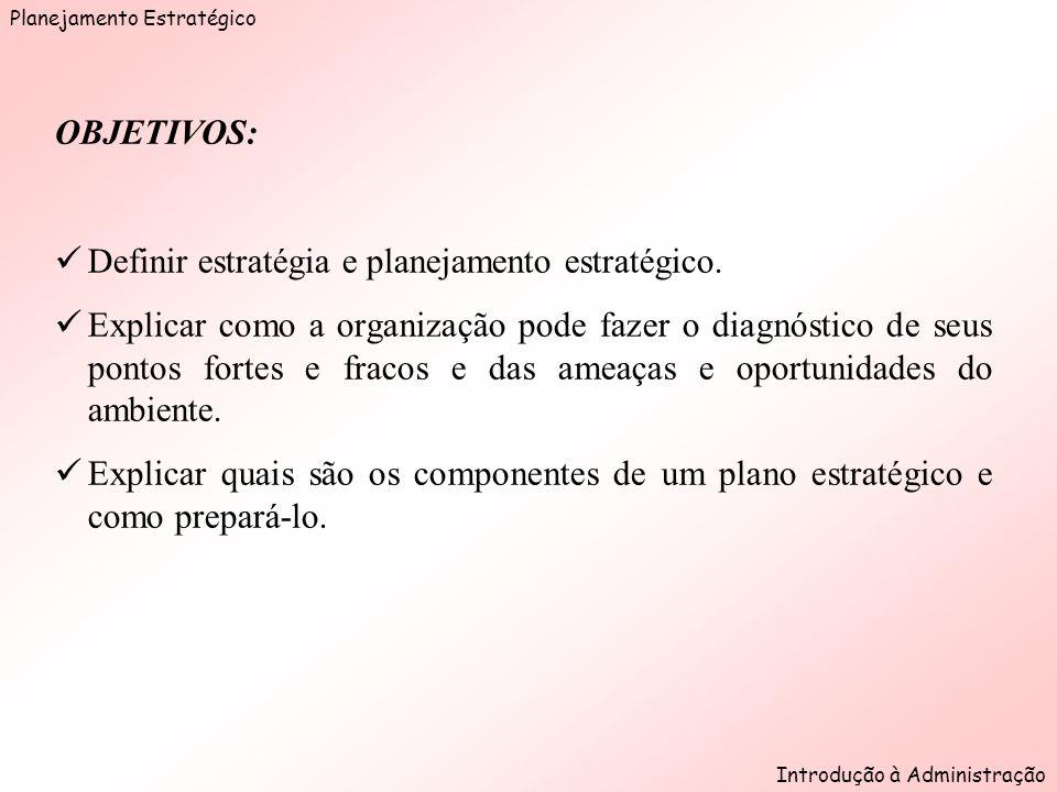 Planejamento Estratégico Introdução à Administração Figura 7.2 Planejamento estratégico é um processo de organizar idéias a respeito do futuro.