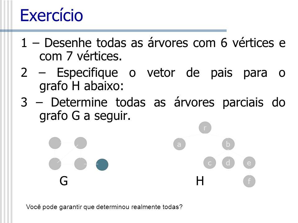 Exercício 1 – Desenhe todas as árvores com 6 vértices e com 7 vértices. 2 – Especifique o vetor de pais para o grafo H abaixo: 3 – Determine todas as