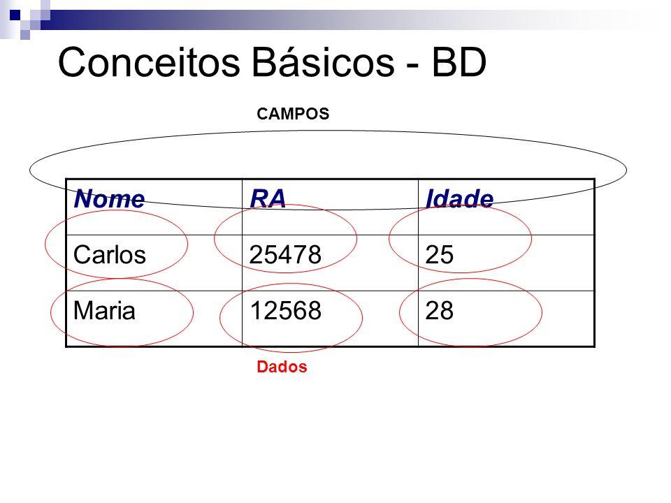 Conceitos Básicos - BD Um campo é a unidade básica de uma tabela. Possui um nome, tipo e tamanho. Ex.: Nome, Telefone, Salário.... Um dado pode ser de