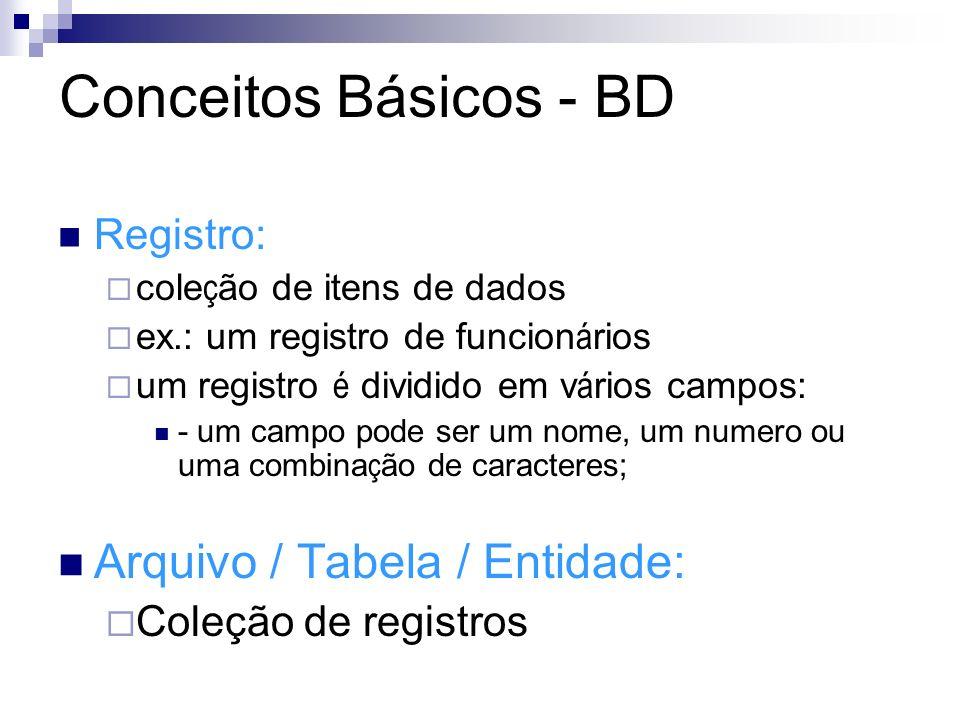 Conceitos Básicos - BD NomeRAIdade Carlos2547825 Maria1256828 CAMPOS Dados