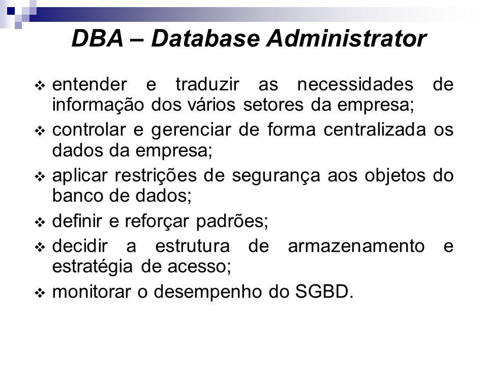 Pessoal Envolvido em um BD Usuários Finais: ocasionais : tipicamente gerentes e tomadores de decisão. paramétricos : usuários de transações enlatadas,