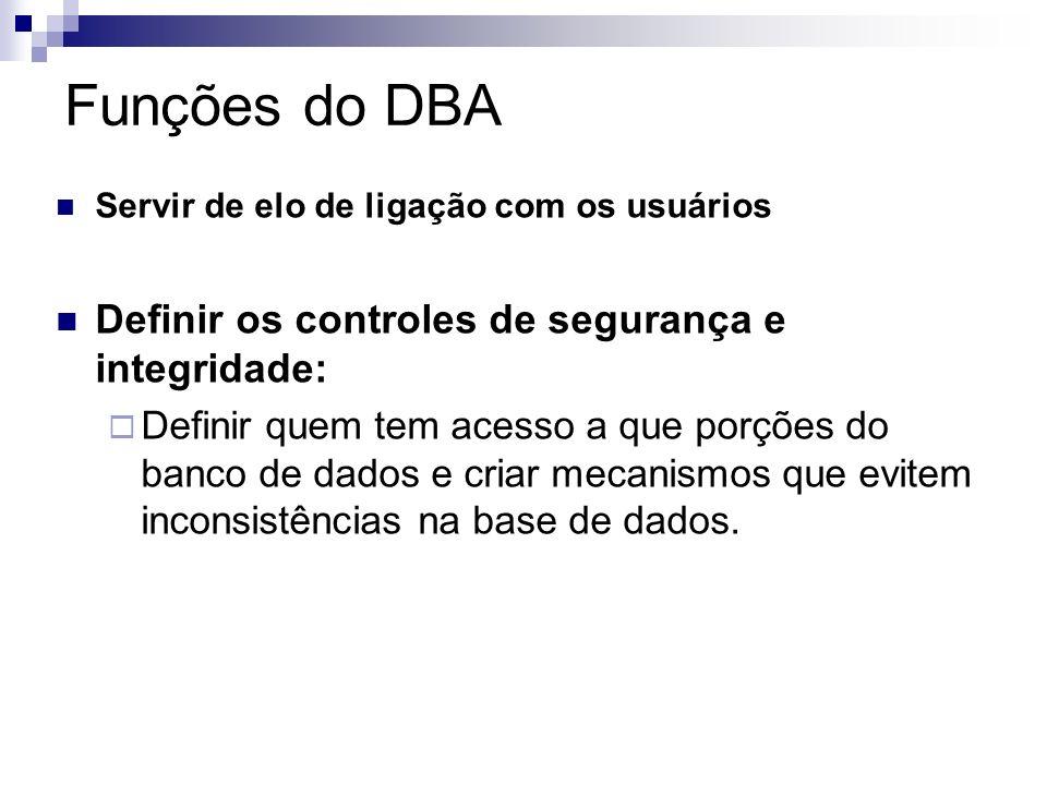 Funções do DBA Desenvolve e administra: Estratégias Procedimentos Práticas e Planos capazes de disponibilizar os dados corporativos necessários. Defin