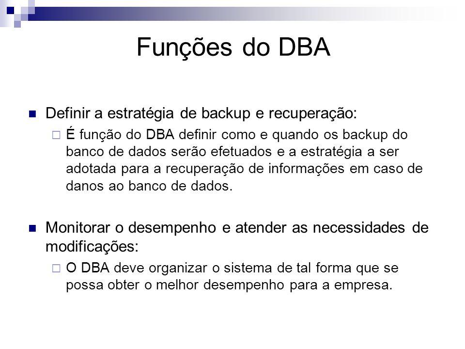 Funções do DBA Servir de elo de ligação com os usuários Definir os controles de segurança e integridade: Definir quem tem acesso a que porções do banc
