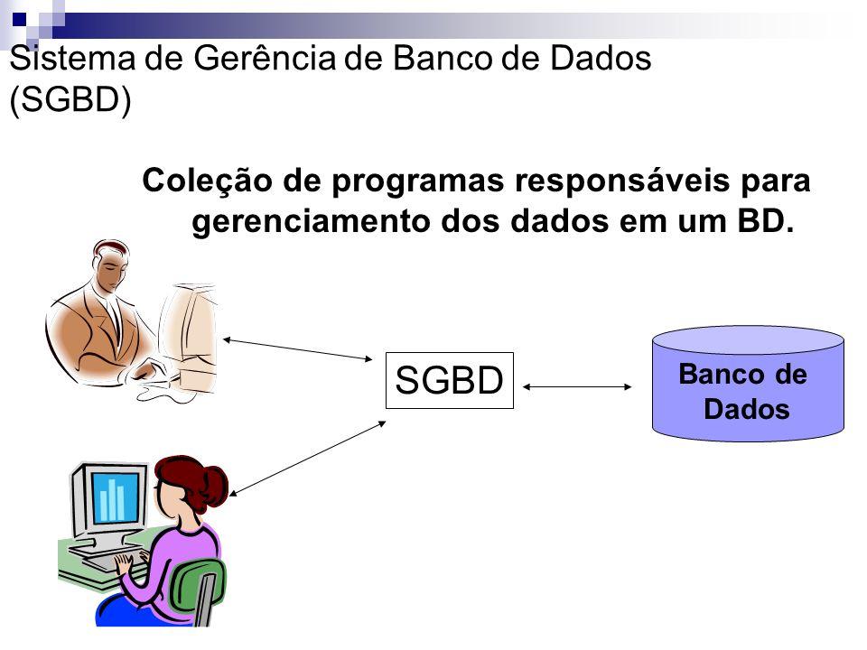 Sistemas de Gerenciamento de Banco de Dados (SGBD) Sistemas de Computação que permitem ao usuário, definir, criar, manter e controlar o acesso ao BD.