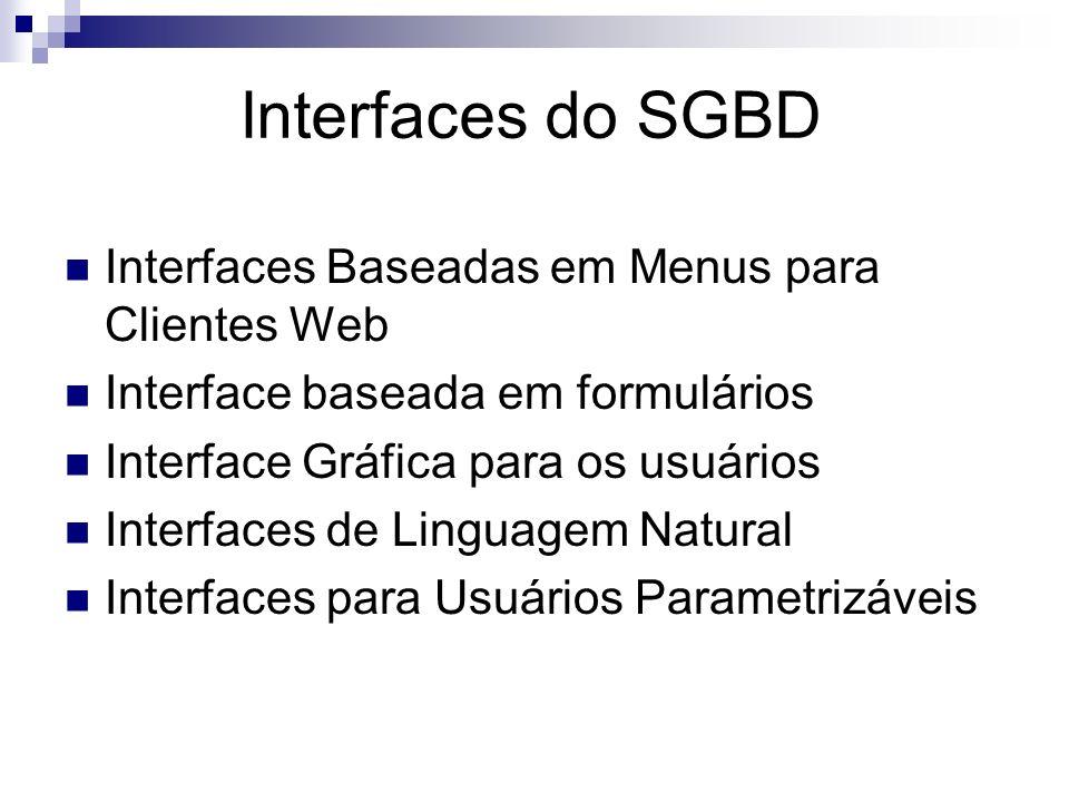 Defini ç ões - SGBD É o software responsável pelo gerenciamento (armazenamento e recuperação) dos dados no Banco de Dados. Coleção de dados inter-rela