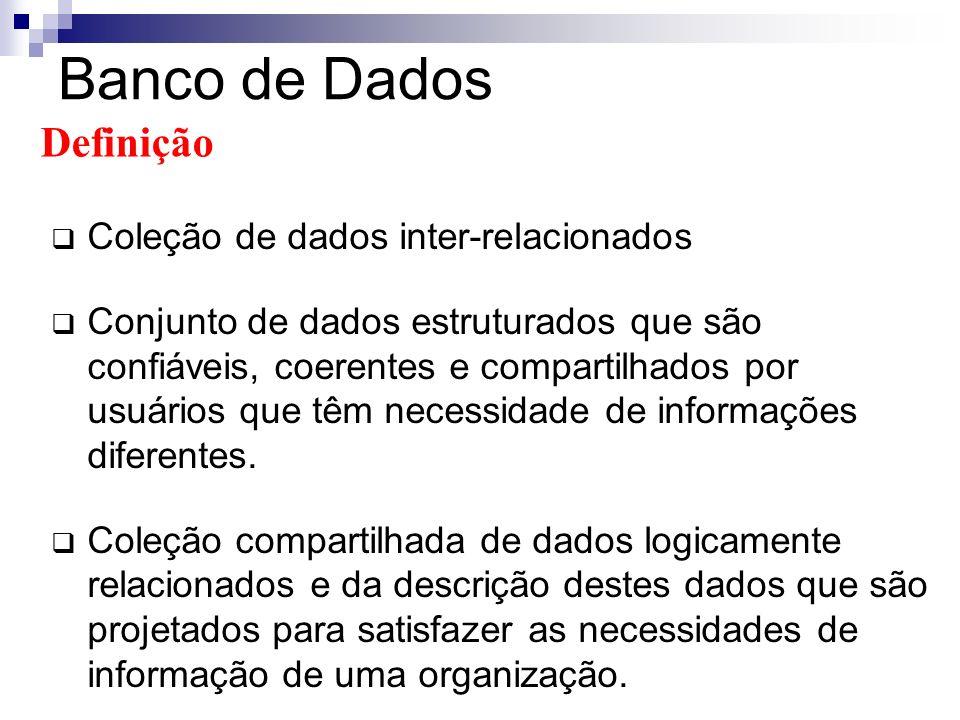 Sistema de Gerência de Banco de Dados (SGBD) Coleção de programas responsáveis para gerenciamento dos dados em um BD.