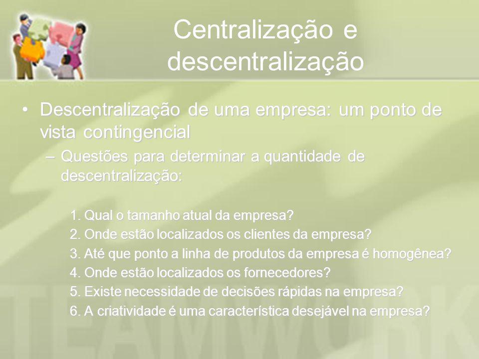 Centralização e descentralização Descentralização de uma empresa: um ponto de vista contingencialDescentralização de uma empresa: um ponto de vista co