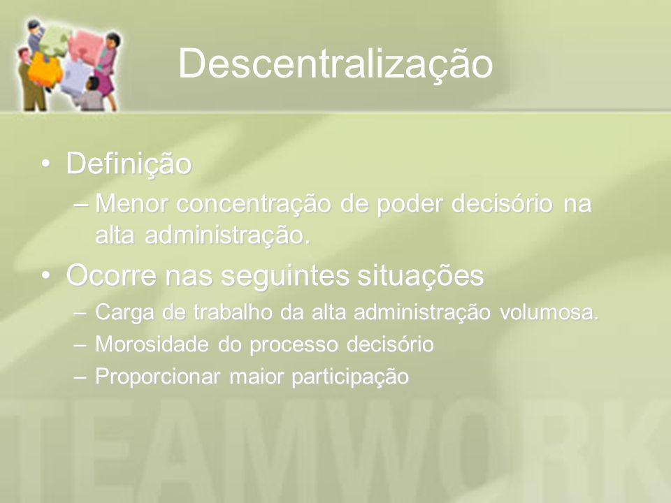 Descentralização DefiniçãoDefinição –Menor concentração de poder decisório na alta administração. Ocorre nas seguintes situaçõesOcorre nas seguintes s