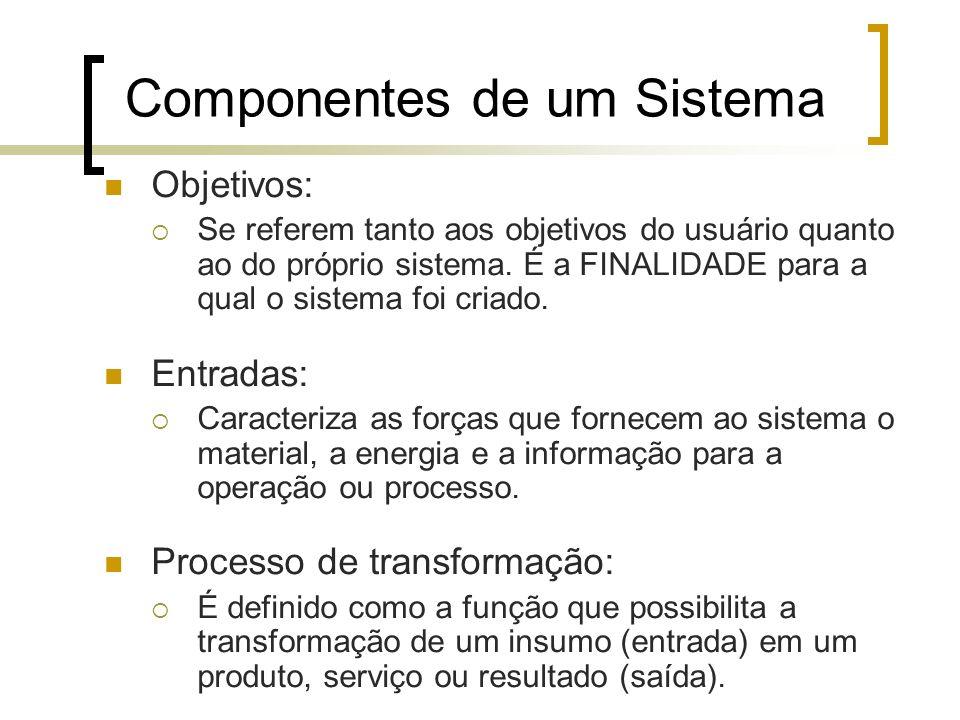 Componentes de um Sistema Objetivos: Se referem tanto aos objetivos do usuário quanto ao do próprio sistema. É a FINALIDADE para a qual o sistema foi