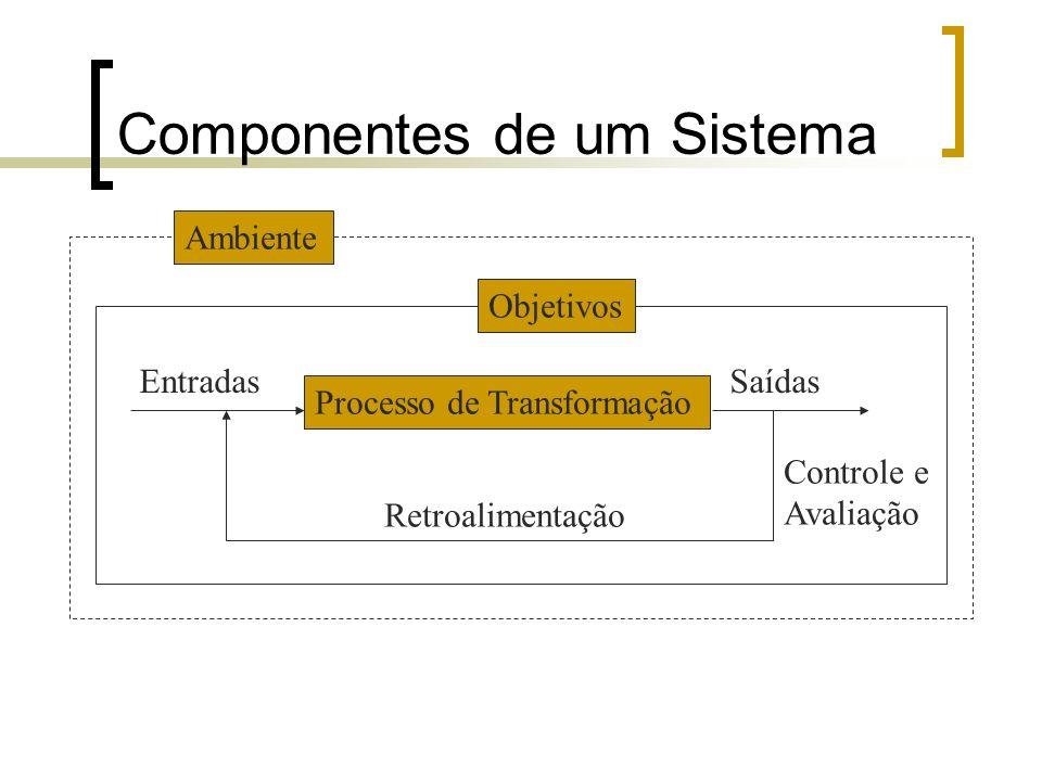 Componentes de um Sistema Exemplo do Bolo: OBJETIVO: Fazer um bolo gostoso e de bom acabamento visual.