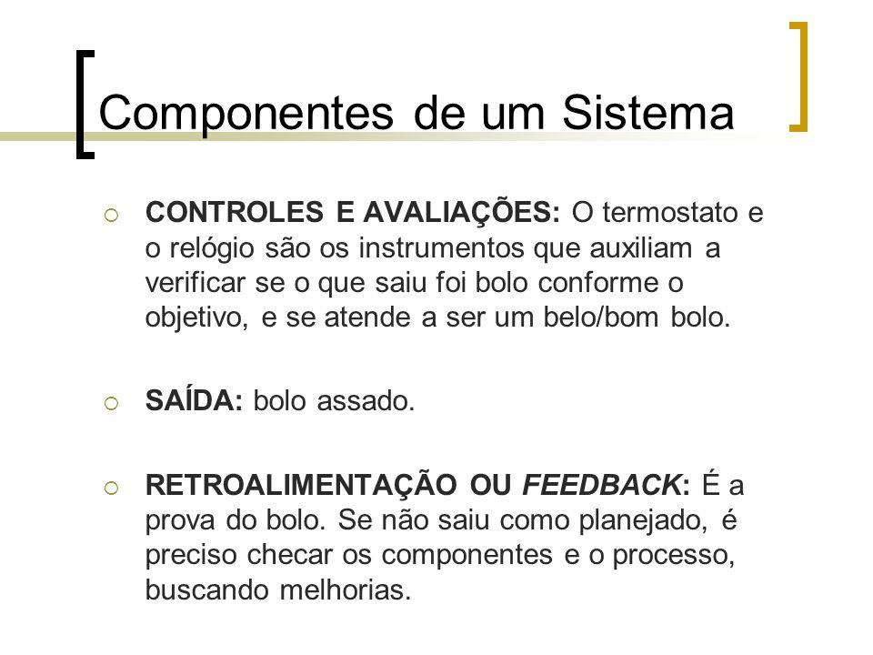 Componentes de um Sistema Os objetivos podem ser simples, como fazer um bolo, ou mais complexos.