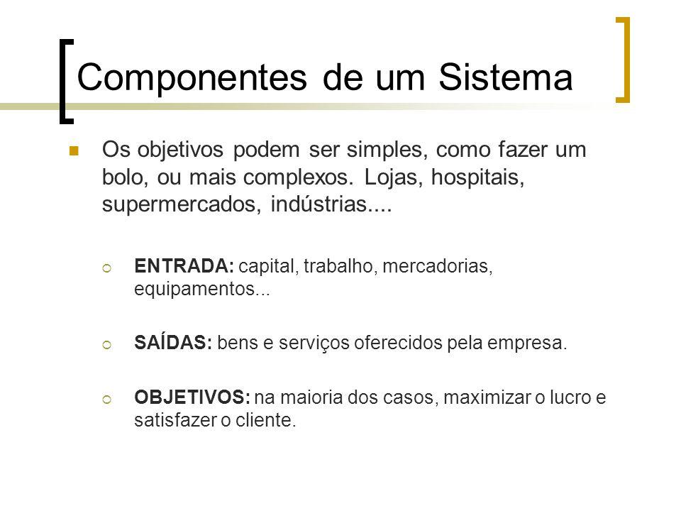 Componentes de um Sistema Os objetivos podem ser simples, como fazer um bolo, ou mais complexos. Lojas, hospitais, supermercados, indústrias.... ENTRA
