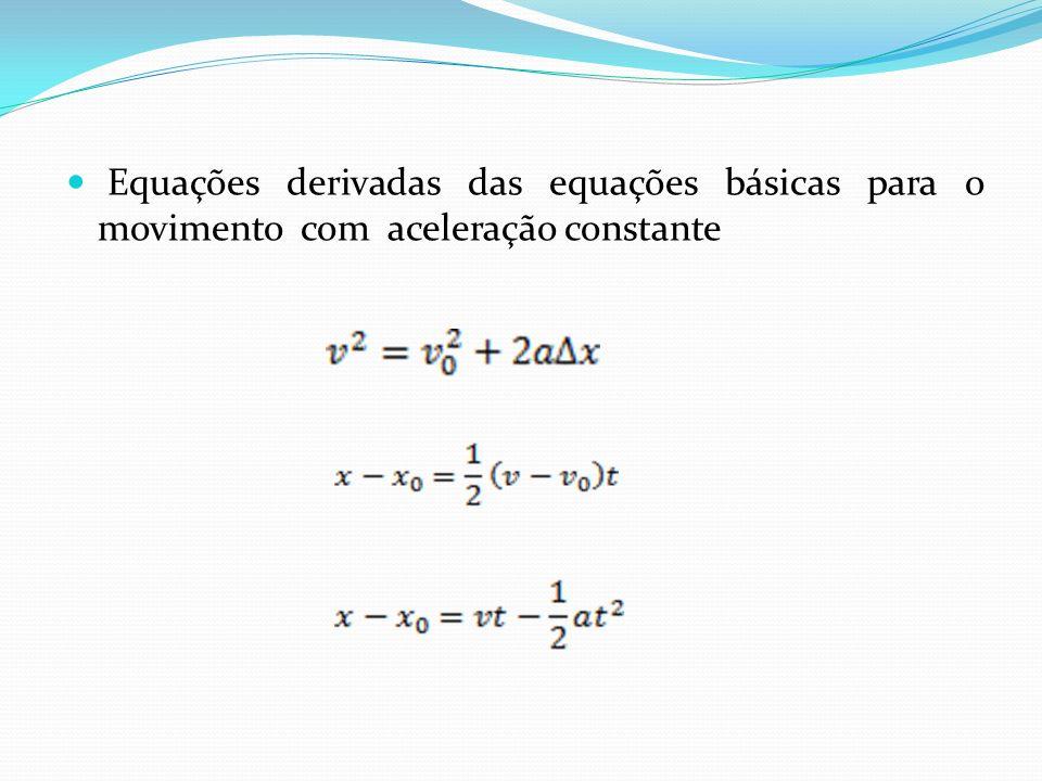 Equações derivadas das equações básicas para o movimento com aceleração constante