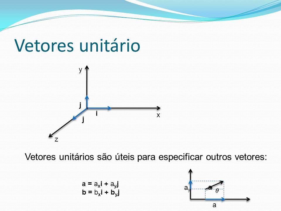 Vetores unitário y x z j i j Vetores unitários são úteis para especificar outros vetores: axax ayay a a = a x i + a y j b = b x i + b y j