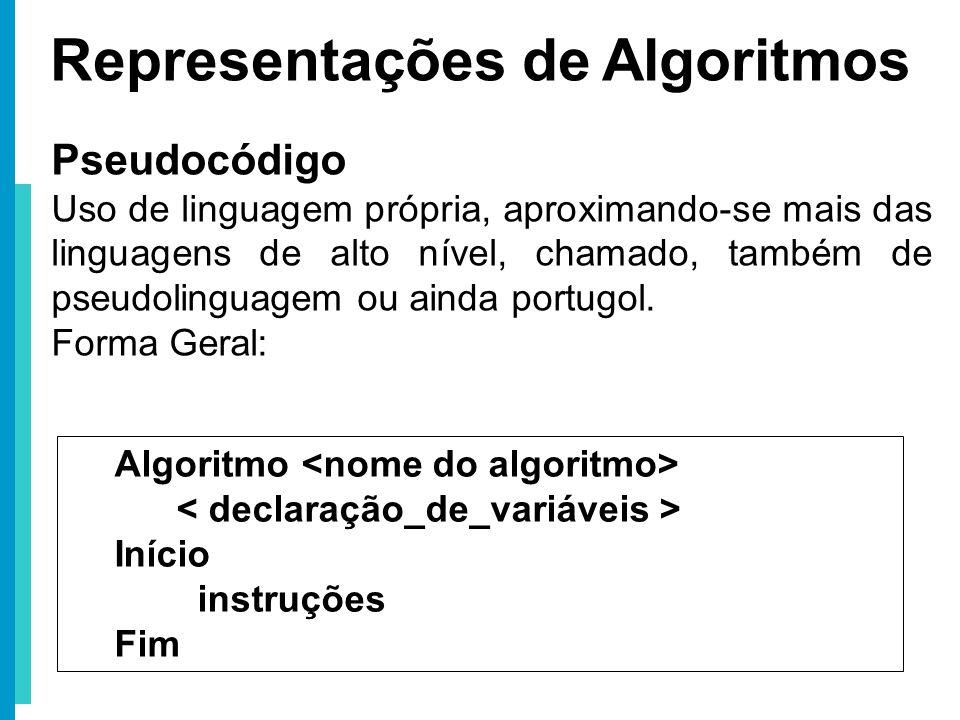 Representações de Algoritmos Pseudocódigo Uso de linguagem própria, aproximando-se mais das linguagens de alto nível, chamado, também de pseudolinguag