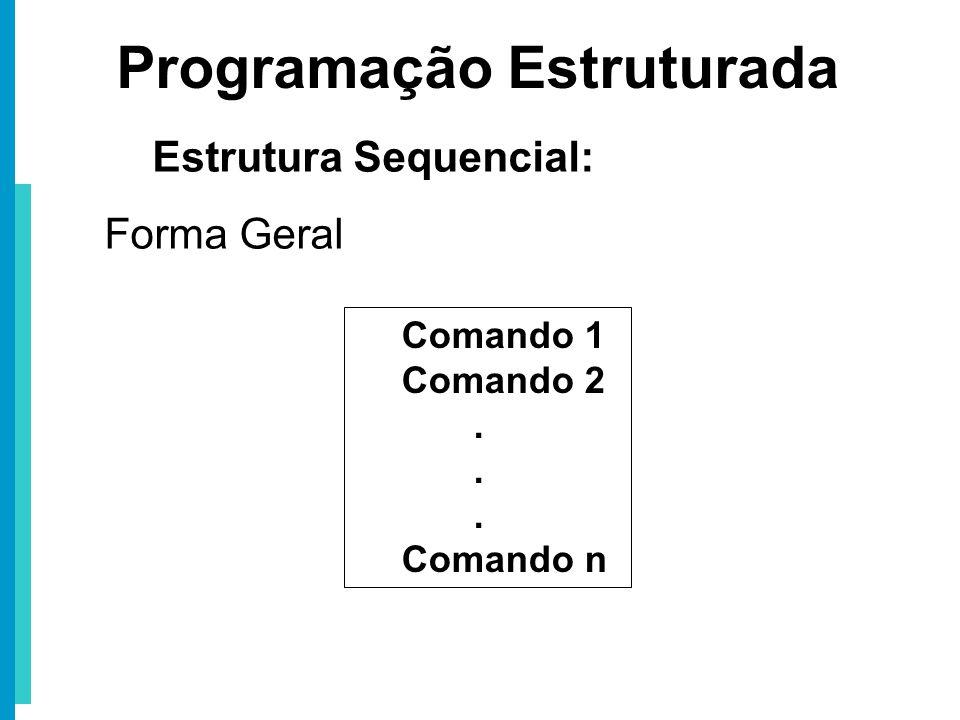 Comando 1 Comando 2. Comando n Programação Estruturada Estrutura Sequencial: Forma Geral