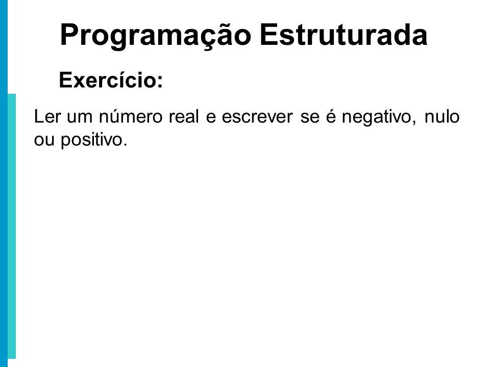 Programação Estruturada Exercício: Ler um número real e escrever se é negativo, nulo ou positivo.