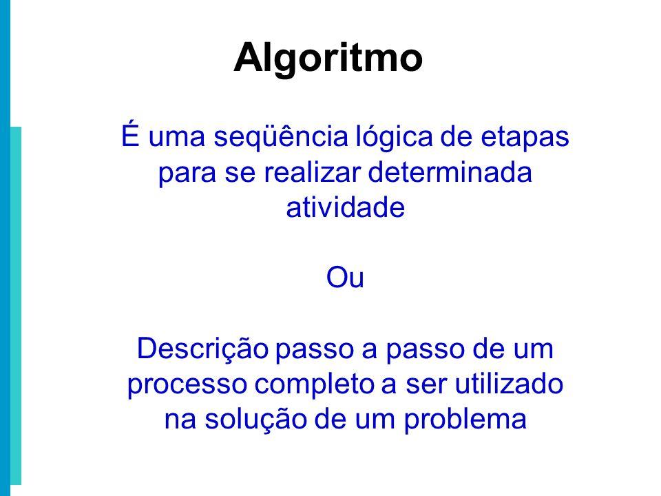 É uma seqüência lógica de etapas para se realizar determinada atividade Ou Descrição passo a passo de um processo completo a ser utilizado na solução