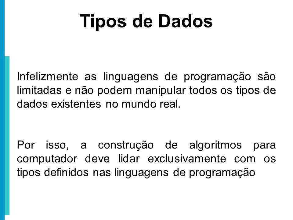 Tipos de Dados Infelizmente as linguagens de programação são limitadas e não podem manipular todos os tipos de dados existentes no mundo real. Por iss