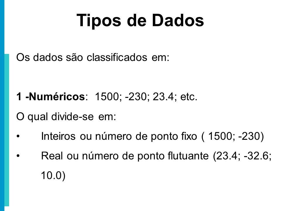 Tipos de Dados Os dados são classificados em: 1 -Numéricos: 1500; -230; 23.4; etc. O qual divide-se em: Inteiros ou número de ponto fixo ( 1500; -230)