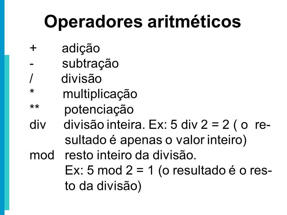 + adição - subtração / divisão * multiplicação ** potenciação div divisão inteira. Ex: 5 div 2 = 2 ( o re- sultado é apenas o valor inteiro) mod resto