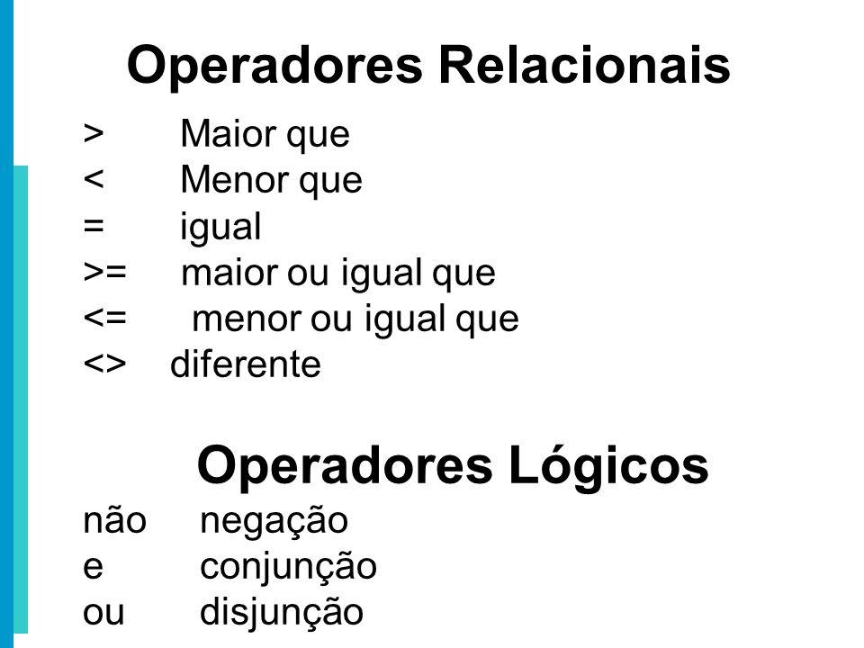 > Maior que < Menor que = igual >= maior ou igual que <= menor ou igual que <> diferente Operadores Lógicos não negação e conjunção ou disjunção Opera