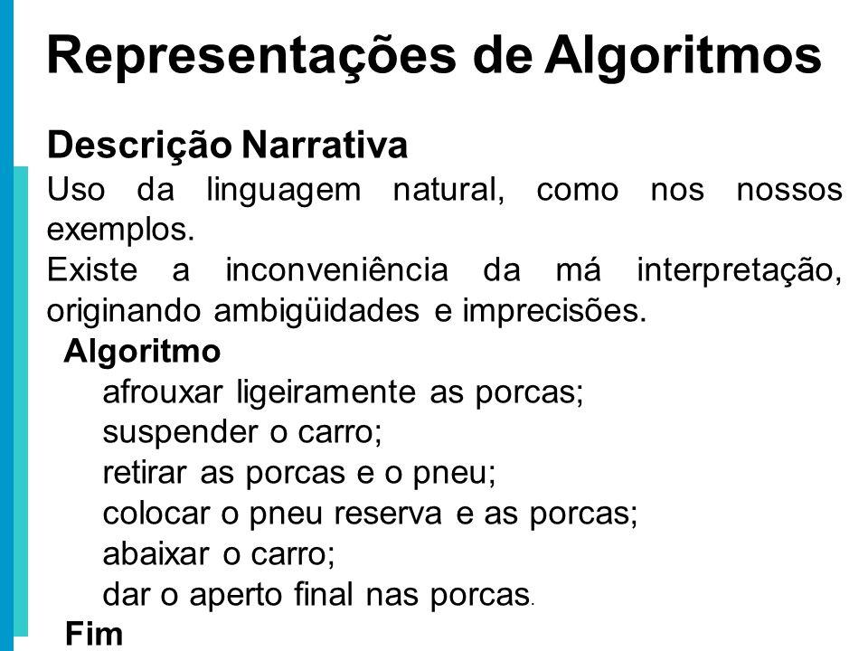 Representações de Algoritmos Descrição Narrativa Uso da linguagem natural, como nos nossos exemplos. Existe a inconveniência da má interpretação, orig