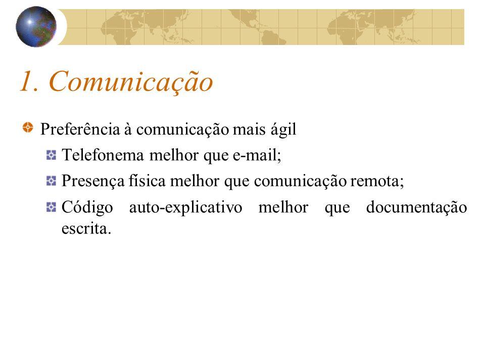 1. Comunicação Preferência à comunicação mais ágil Telefonema melhor que e-mail; Presença física melhor que comunicação remota; Código auto-explicativ