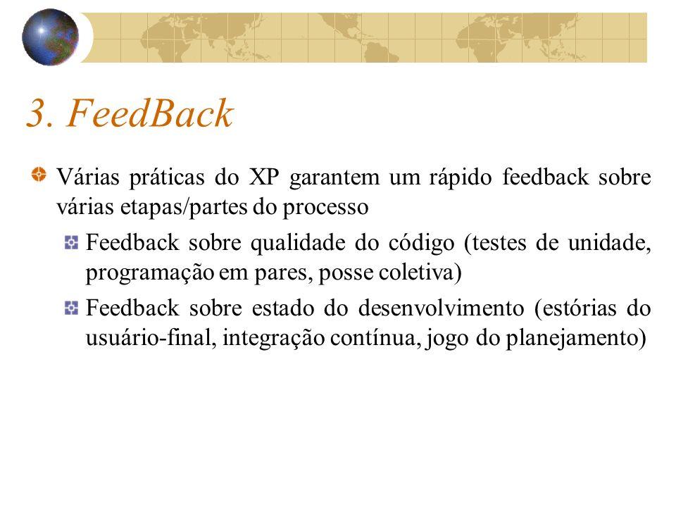 3. FeedBack Várias práticas do XP garantem um rápido feedback sobre várias etapas/partes do processo Feedback sobre qualidade do código (testes de uni