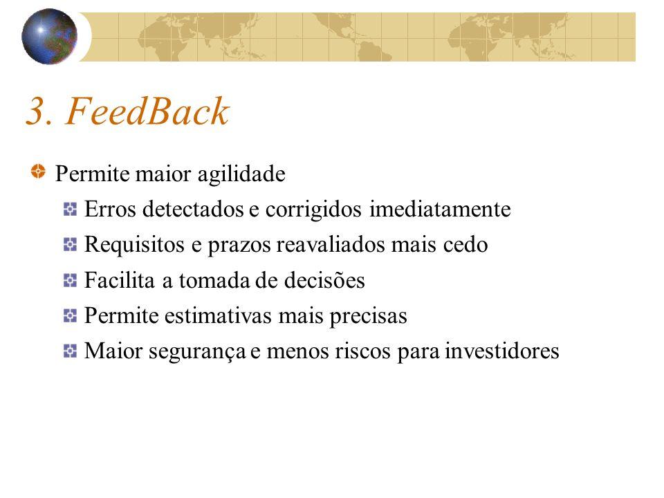 3. FeedBack Permite maior agilidade Erros detectados e corrigidos imediatamente Requisitos e prazos reavaliados mais cedo Facilita a tomada de decisõe