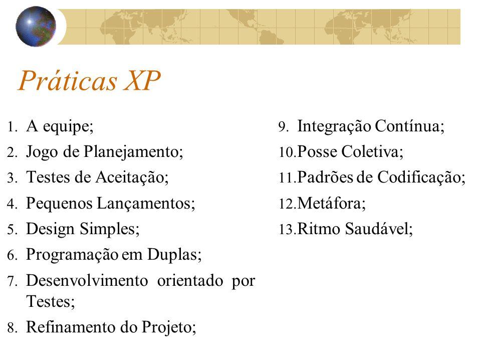 Práticas XP 1. A equipe; 2. Jogo de Planejamento; 3. Testes de Aceitação; 4. Pequenos Lançamentos; 5. Design Simples; 6. Programação em Duplas; 7. Des