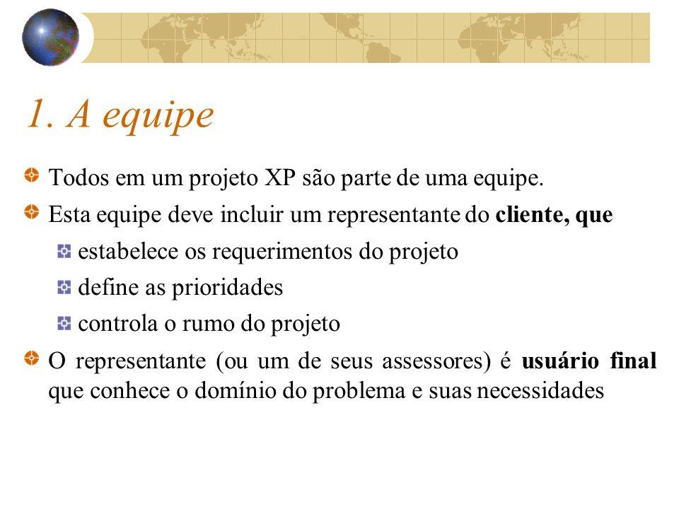 1. A equipe Todos em um projeto XP são parte de uma equipe. Esta equipe deve incluir um representante do cliente, que estabelece os requerimentos do p