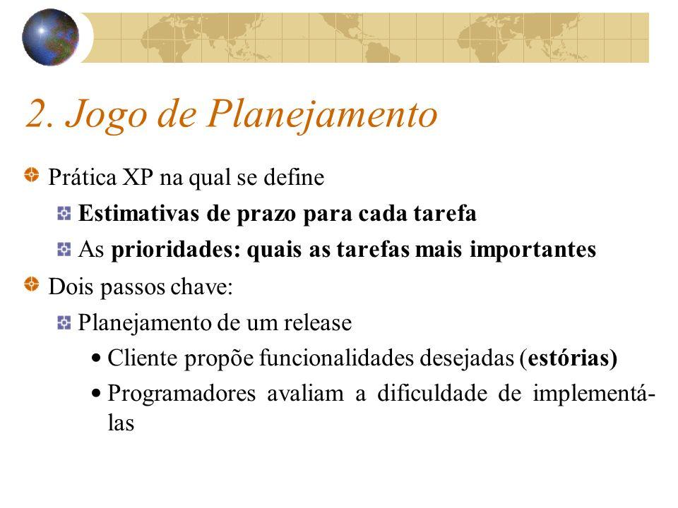 2. Jogo de Planejamento Prática XP na qual se define Estimativas de prazo para cada tarefa As prioridades: quais as tarefas mais importantes Dois pass