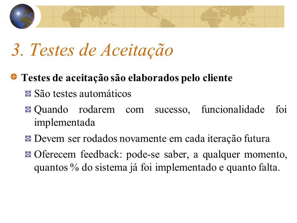 3. Testes de Aceitação Testes de aceitação são elaborados pelo cliente São testes automáticos Quando rodarem com sucesso, funcionalidade foi implement