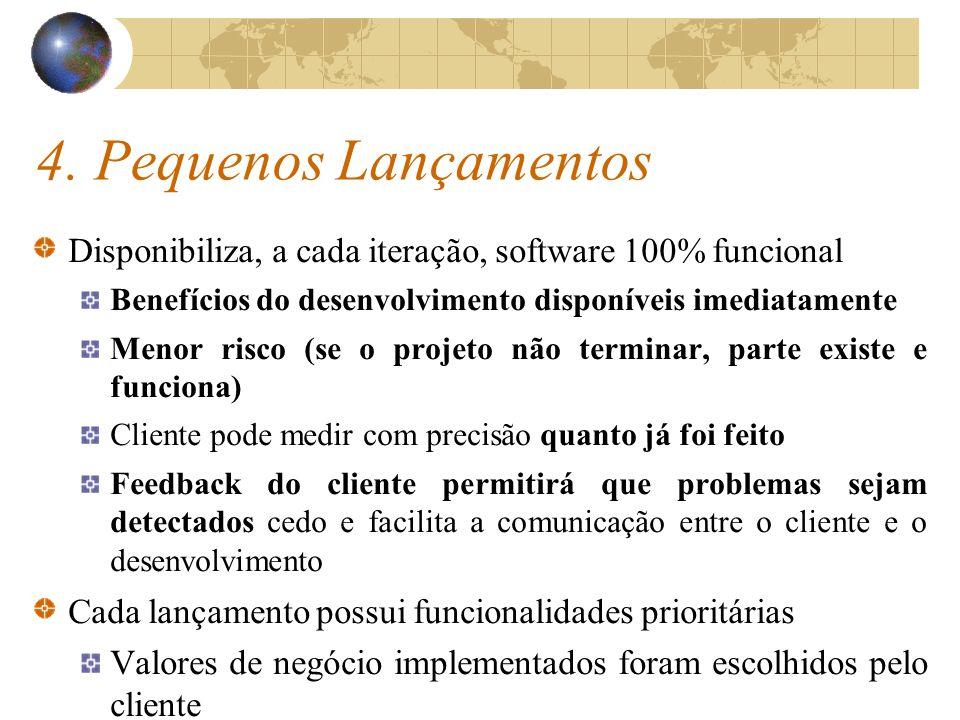 4. Pequenos Lançamentos Disponibiliza, a cada iteração, software 100% funcional Benefícios do desenvolvimento disponíveis imediatamente Menor risco (s