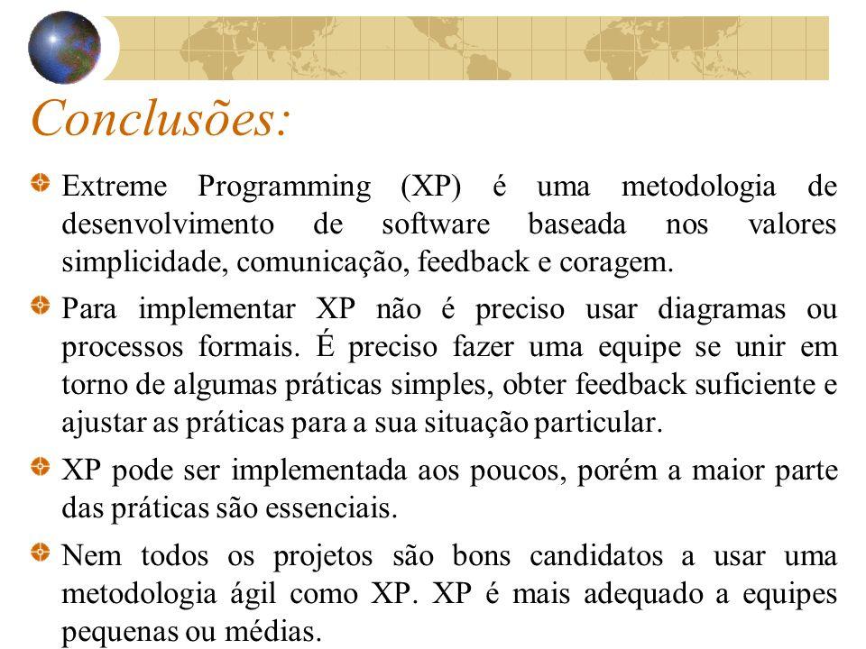 Conclusões: Extreme Programming (XP) é uma metodologia de desenvolvimento de software baseada nos valores simplicidade, comunicação, feedback e corage