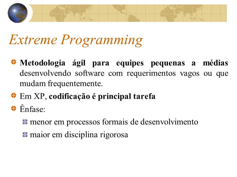 Extreme Programming Baseia-se em: revisão permanente do código, testes frequentes, participação do usuário final, refatoramento contínuo, refinação contínua da arquitetura, integração contínua, planejamento, design e redesign a qualquer hora;