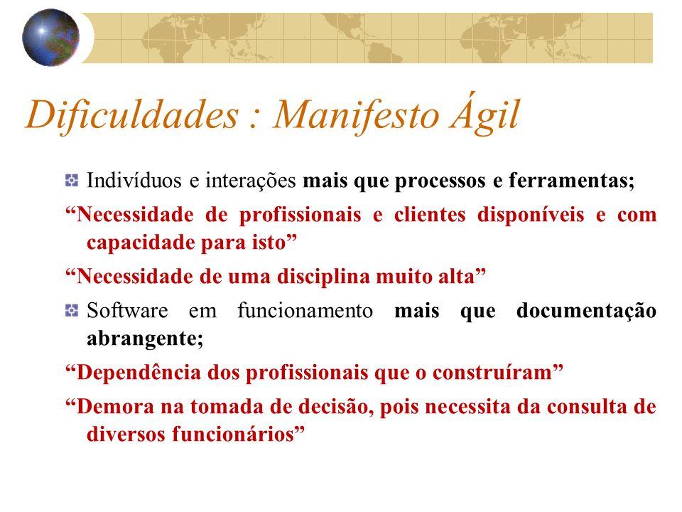 Dificuldades : Manifesto Ágil Indivíduos e interações mais que processos e ferramentas; Necessidade de profissionais e clientes disponíveis e com capa