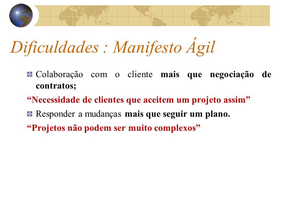 Dificuldades : Manifesto Ágil Colaboração com o cliente mais que negociação de contratos; Necessidade de clientes que aceitem um projeto assim Respond
