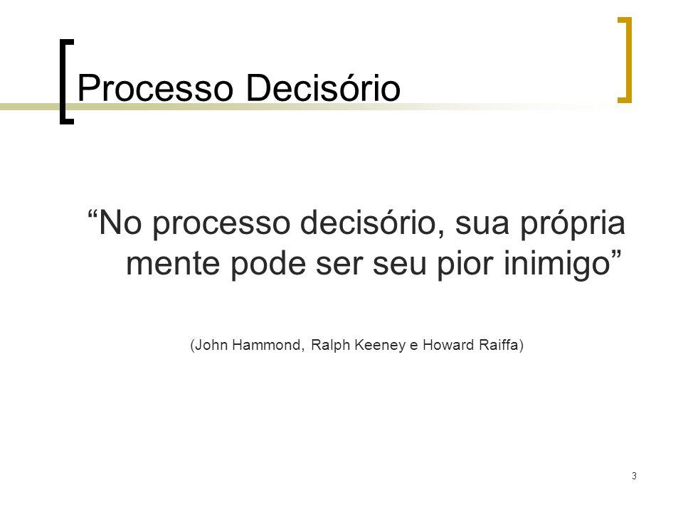 4 Considerações sobre Processo Decisório Tomar decisões: é um processo racional, mas também emocional; é um processo social e relativo; é um processo de aprendizagem; não é um processo prescritivo, mas contingencial.