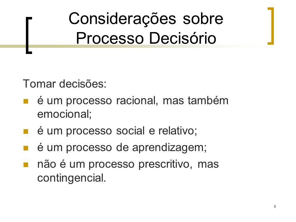 5 Processo de Tomada de Decisão Conceitos a serem adotados: 1.