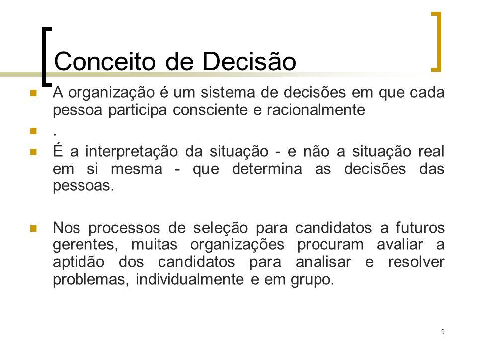 10 Conceito de Decisão São escolhas que as pessoas fazem para enfrentar problemas e aproveitar oportunidades.