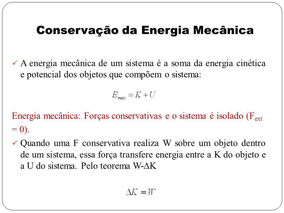 Conservação da Energia Mecânica A energia mecânica de um sistema é a soma da energia cinética e potencial dos objetos que compõem o sistema: Energia m