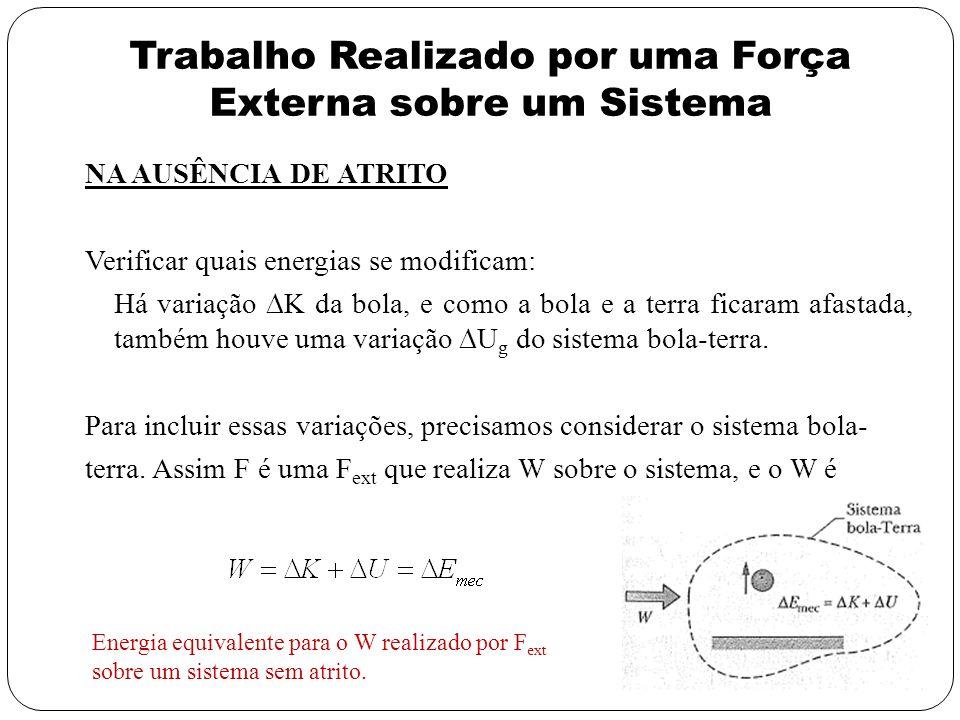 Trabalho Realizado por uma Força Externa sobre um Sistema NA AUSÊNCIA DE ATRITO Verificar quais energias se modificam: Há variação K da bola, e como a