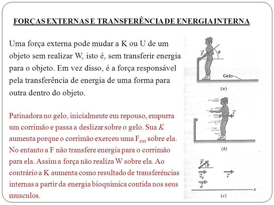 Uma força externa pode mudar a K ou U de um objeto sem realizar W, isto é, sem transferir energia para o objeto. Em vez disso, é a força responsável p