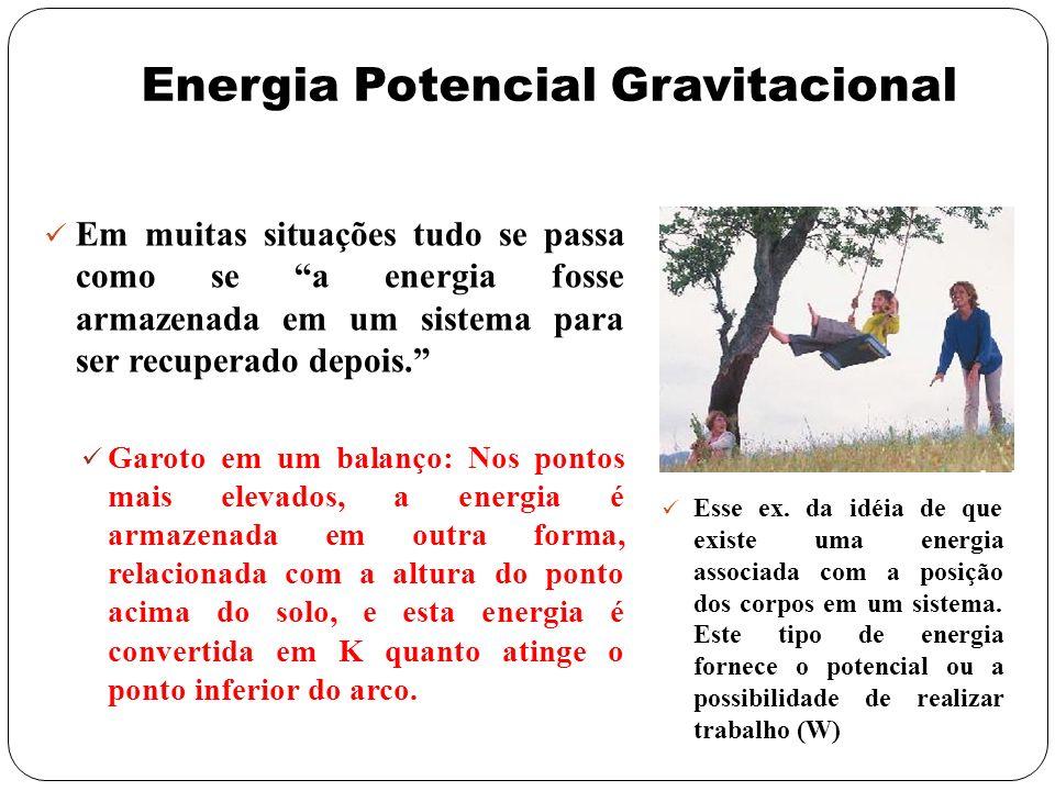 Energia Potencial Gravitacional Em muitas situações tudo se passa como se a energia fosse armazenada em um sistema para ser recuperado depois. Garoto