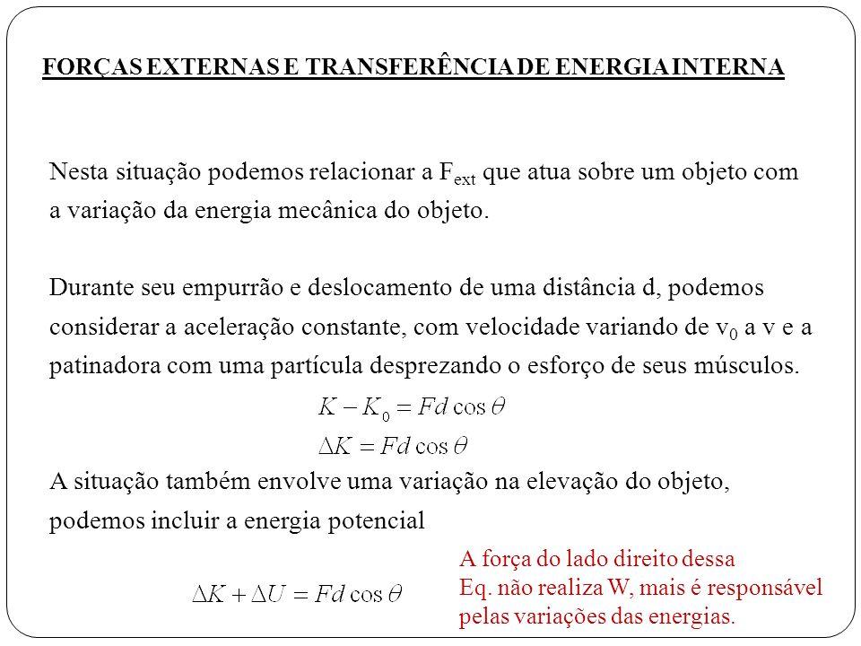 Nesta situação podemos relacionar a F ext que atua sobre um objeto com a variação da energia mecânica do objeto. Durante seu empurrão e deslocamento d