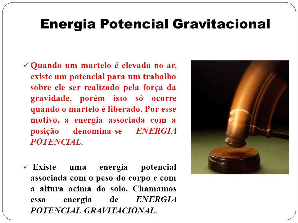 Energia Potencial Gravitacional Quando um martelo é elevado no ar, existe um potencial para um trabalho sobre ele ser realizado pela força da gravidad